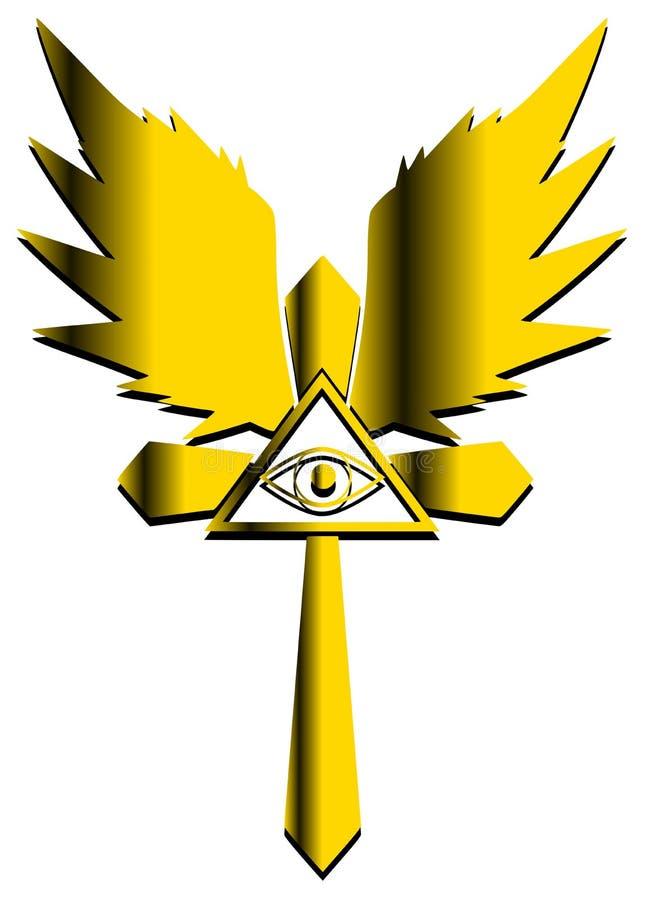 Cruz adornada con todo el ojo que ve ilustración del vector