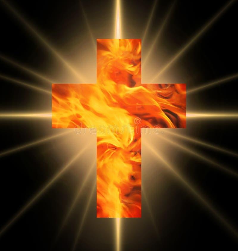 Cruz ardiente del fuego ilustración del vector