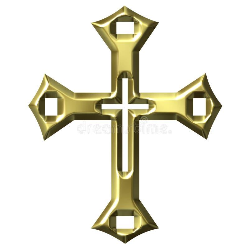 cruz artística de oro 3D ilustración del vector