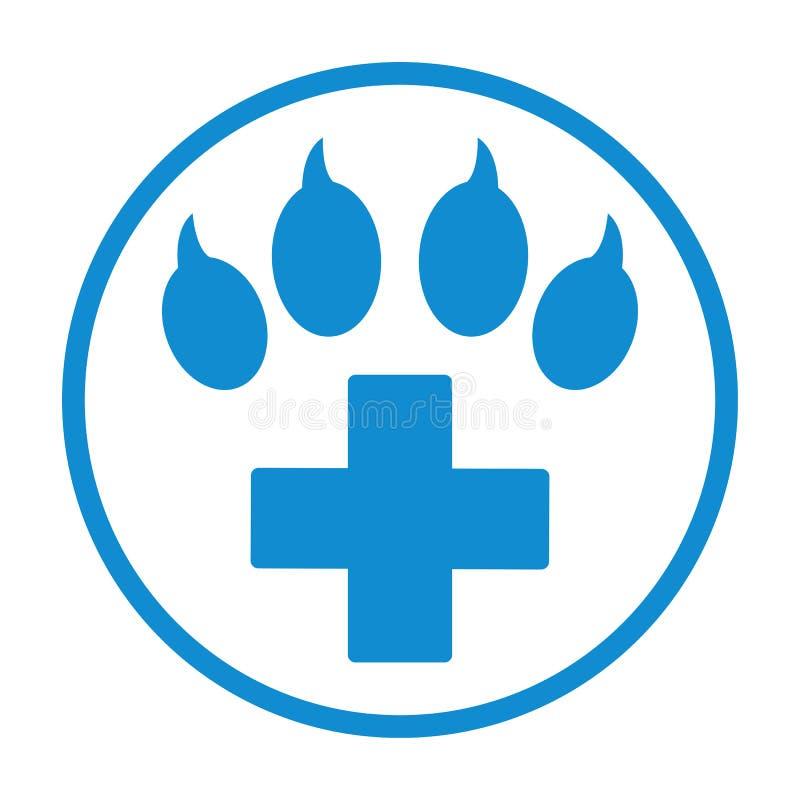 Cruz azul con el icono veterinario del s?mbolo del cuidado de la pata ilustración del vector