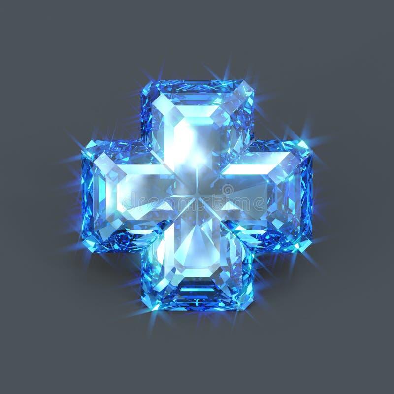 Cruz azul da safira ilustração stock