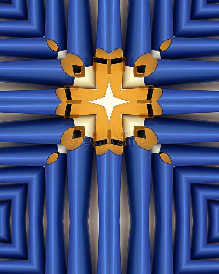 Cruz azul de los tubos de órgano imagen de archivo