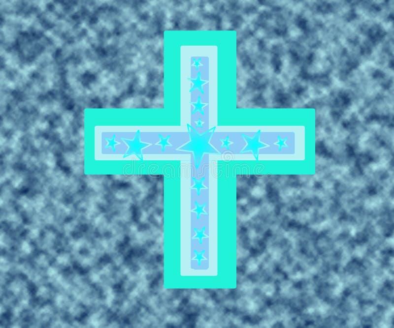 Cruz azul y blanca sobre las nubes ilustración del vector