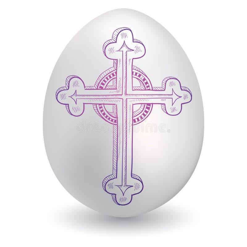 Cruz barroca en el huevo de Pascua stock de ilustración