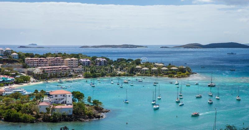 Cruz bay, st john, us virgin islands. Aerial panoramic view of cruz bay, st johns, us virgin islands royalty free stock photo