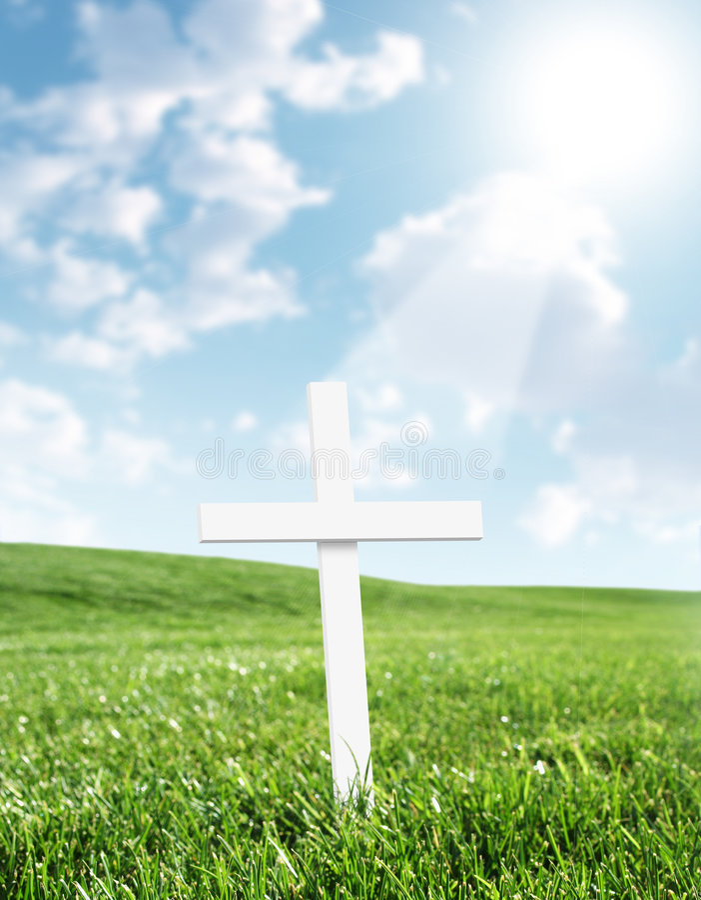 Cruz blanca brillada sobre de cielo stock de ilustración