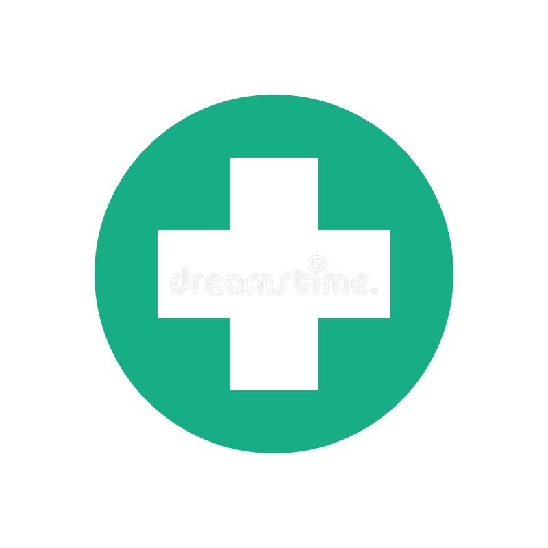 Cruz branca no círculo verde ilustração stock