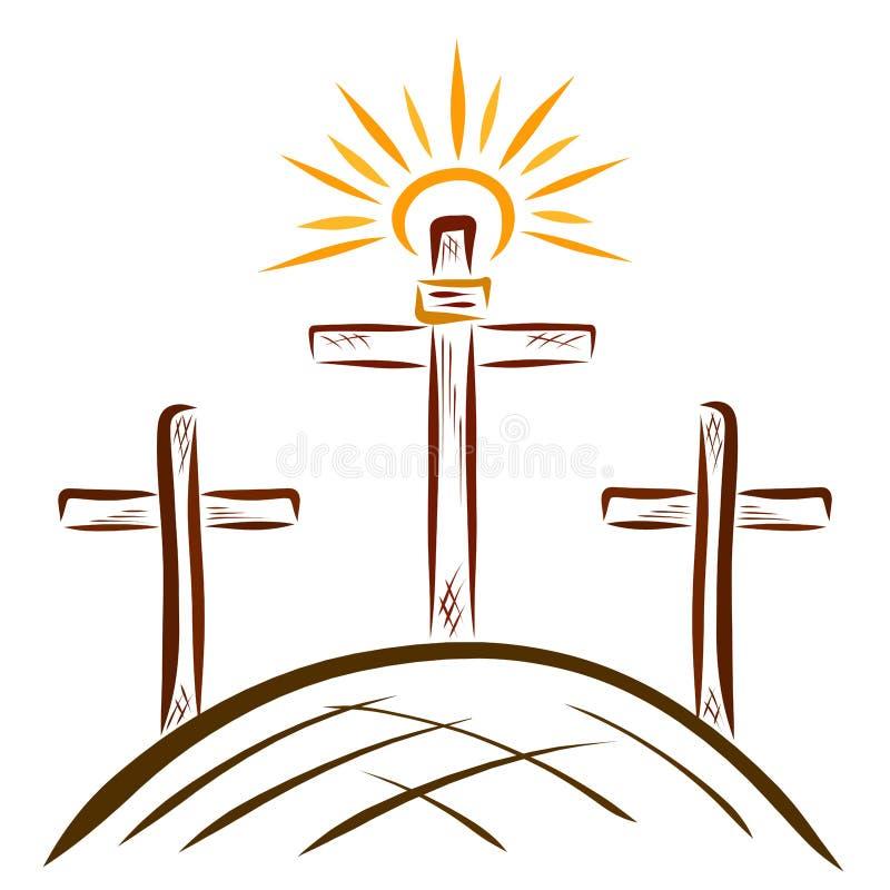 Cruz brillante en el Calvary, salvación libre illustration
