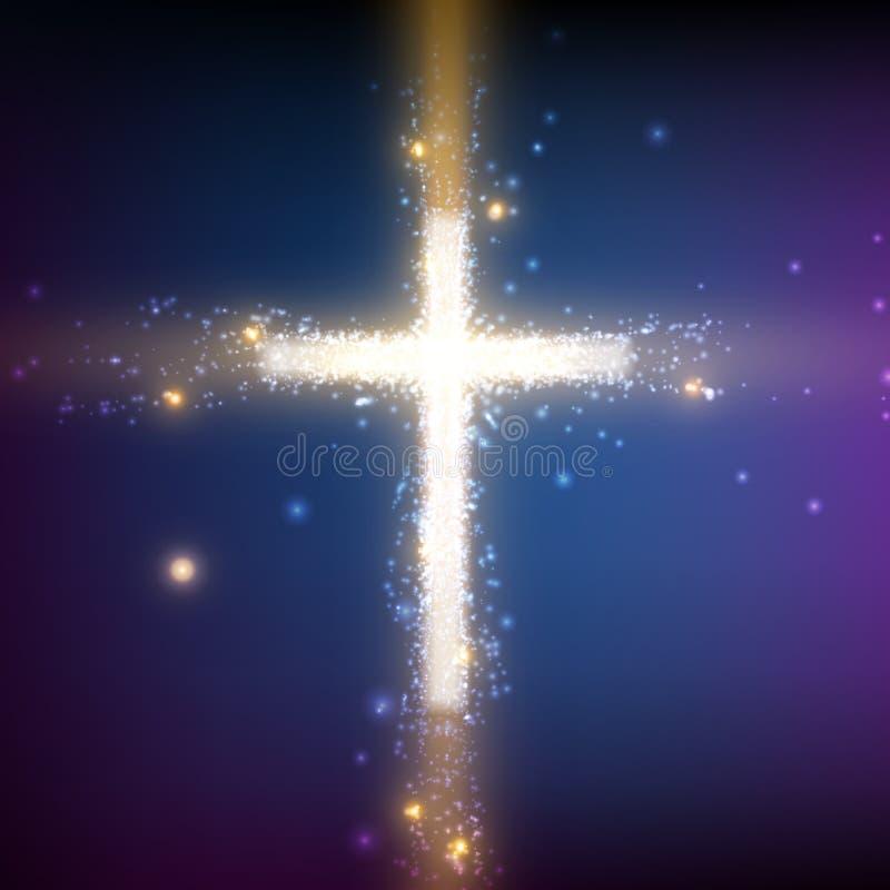 Cruz brillante en fondo colorido con el contraluz y las partículas que brillan intensamente Fondo religioso del vector abstracto stock de ilustración