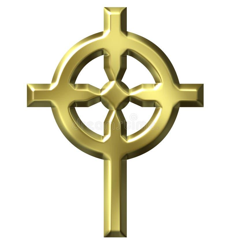 cruz céltica de oro 3D stock de ilustración