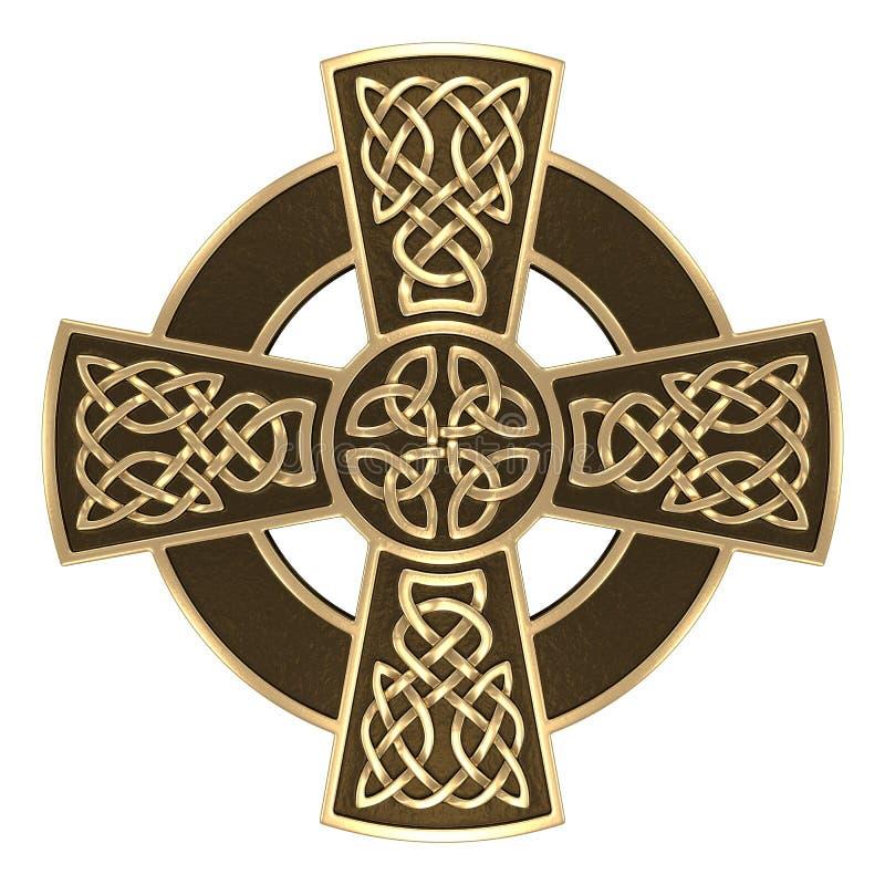 Cruz céltica del oro imágenes de archivo libres de regalías