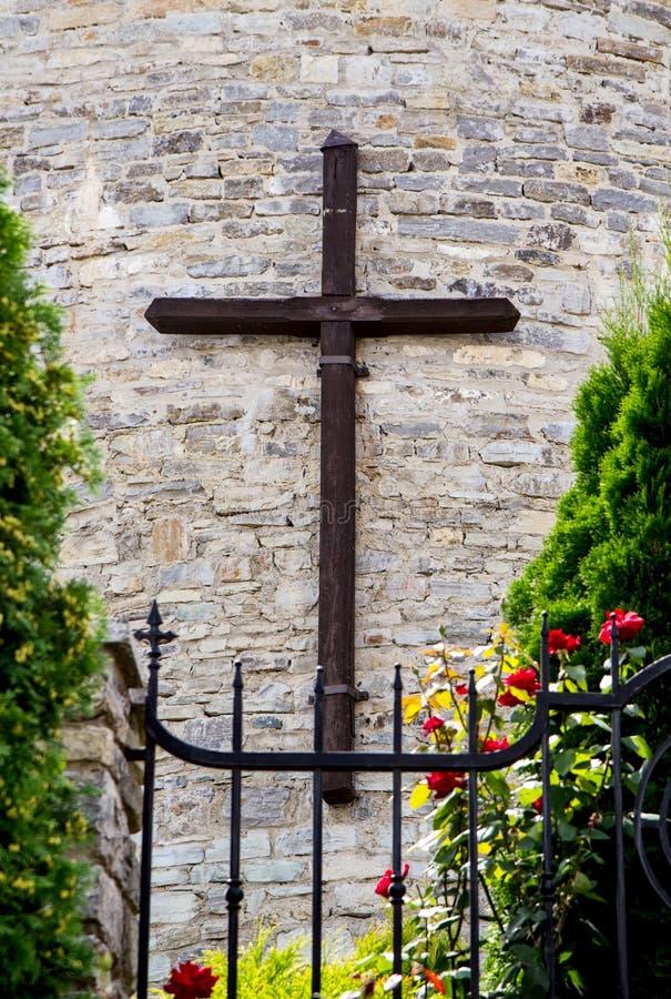 Cruz católica de madeira fotos de stock