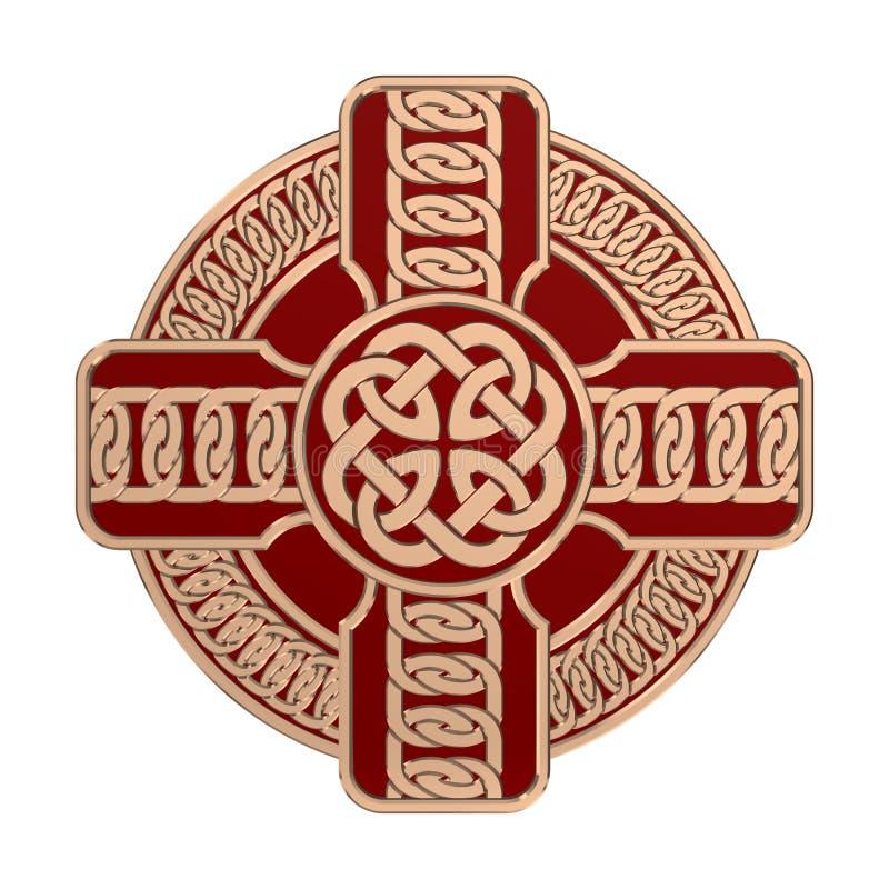 Cruz celta do ouro isolada no fundo branco S?mbolo da religi?o Nós irlandeses 3d fotografia de stock royalty free