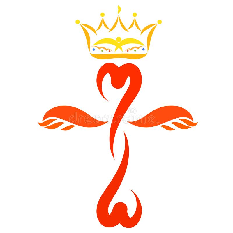 Cruz coa alas colorida con los corazones y una corona sobre ella stock de ilustración