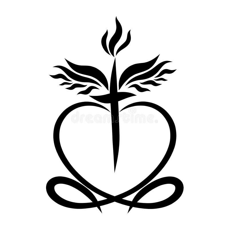 Cruz coa alas con la llama y corazón con los pescados ilustración del vector