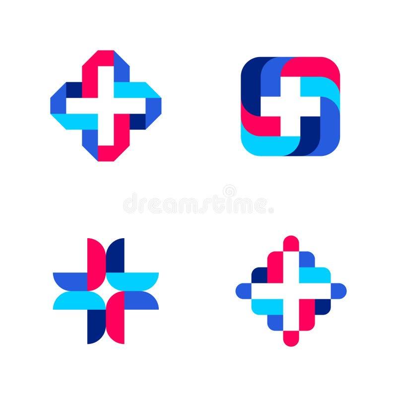 Cruz colorida Moldes ou ícones médicos abstratos do logotipo ilustração do vetor