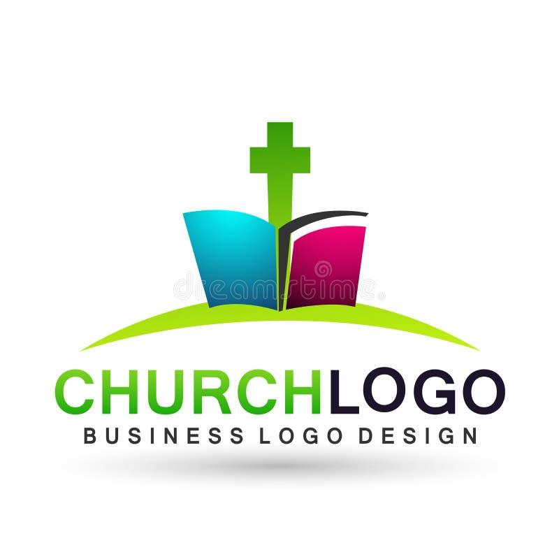 Cruz com ícone do projeto do logotipo do amor do cuidado da união dos povos da igreja da Bíblia no fundo branco ilustração do vetor
