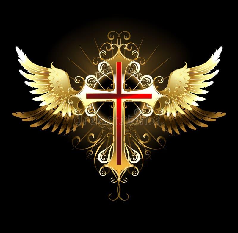 Cruz com asas douradas ilustração do vetor