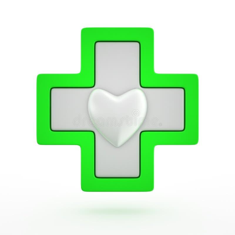 Cruz com coração ilustração stock