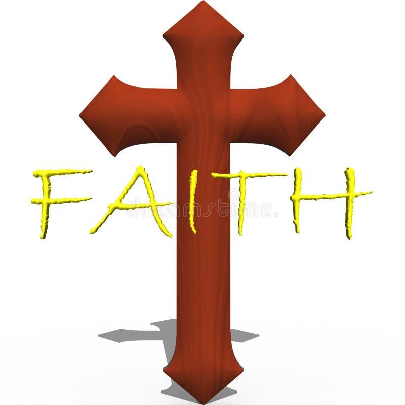 Cruz com fé da palavra ilustração stock