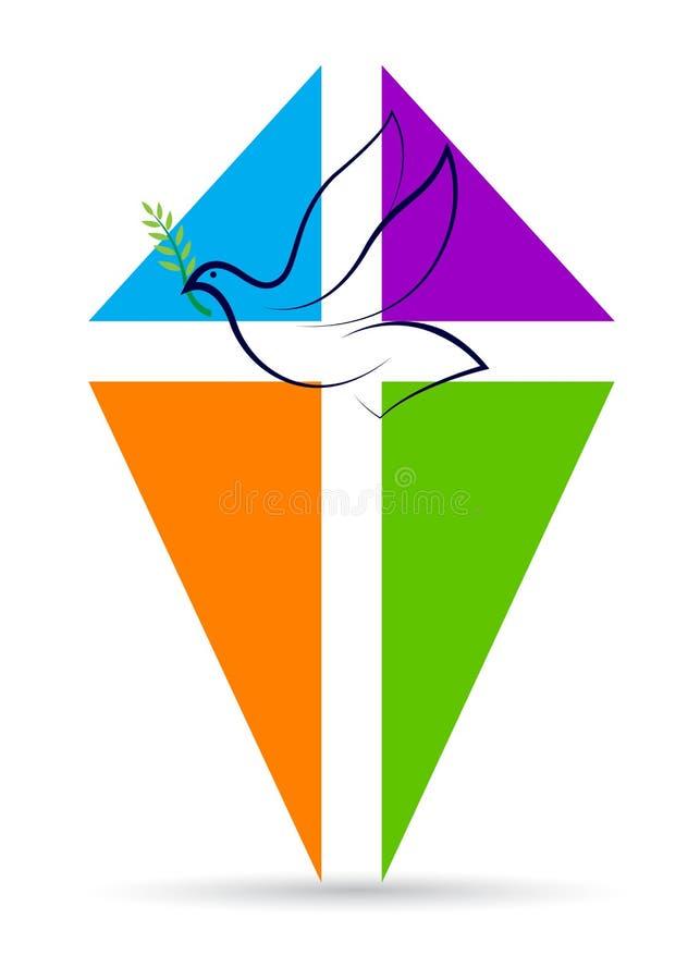 Cruz com pomba da paz ilustração royalty free