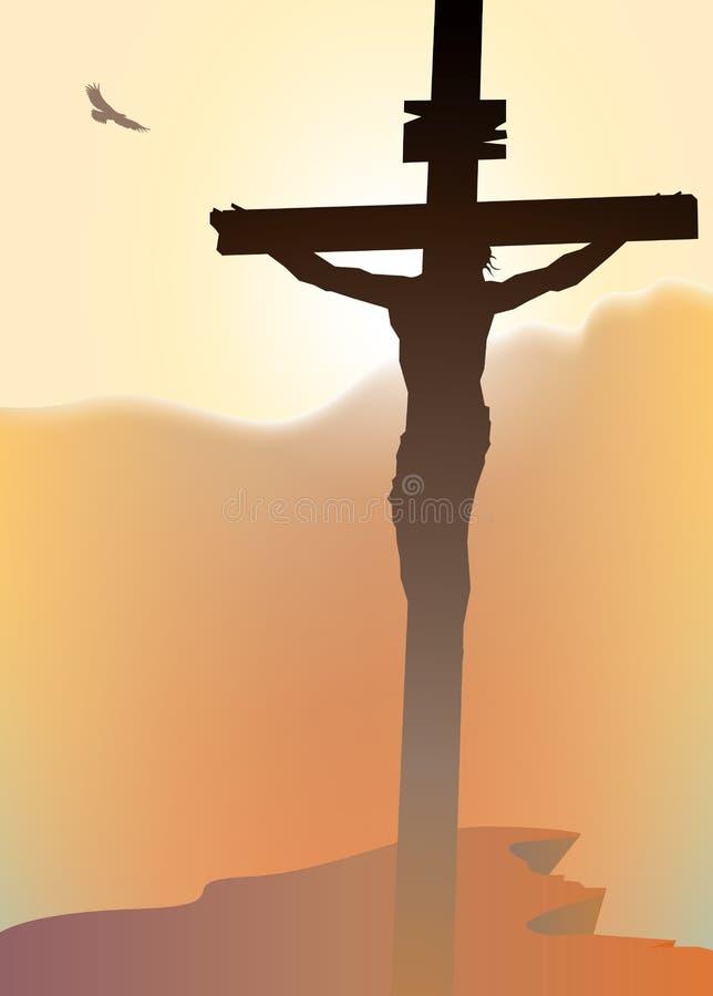 Cruz con Jesus Christ crucificado en la puesta del sol ilustración del vector
