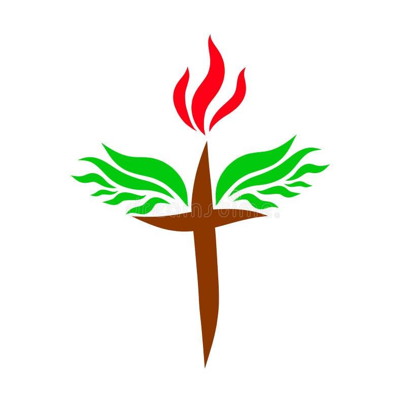 Cruz con la llama y la victoria de las alas sobre pecado stock de ilustración