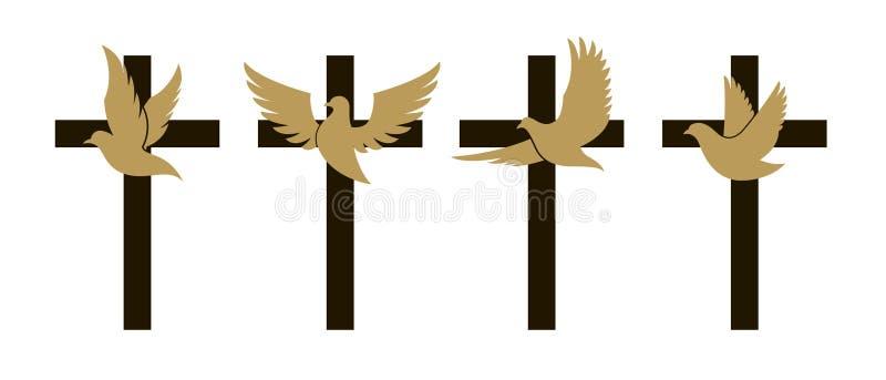 Cruz con la paloma ilustración del vector