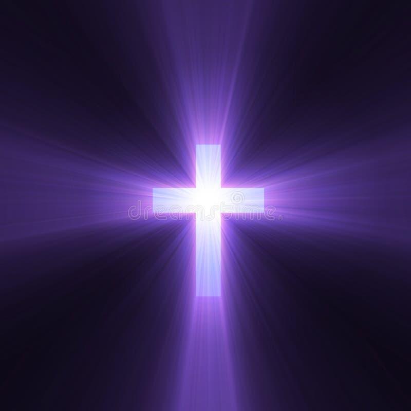 Cruz con las flamas ligeras púrpuras libre illustration