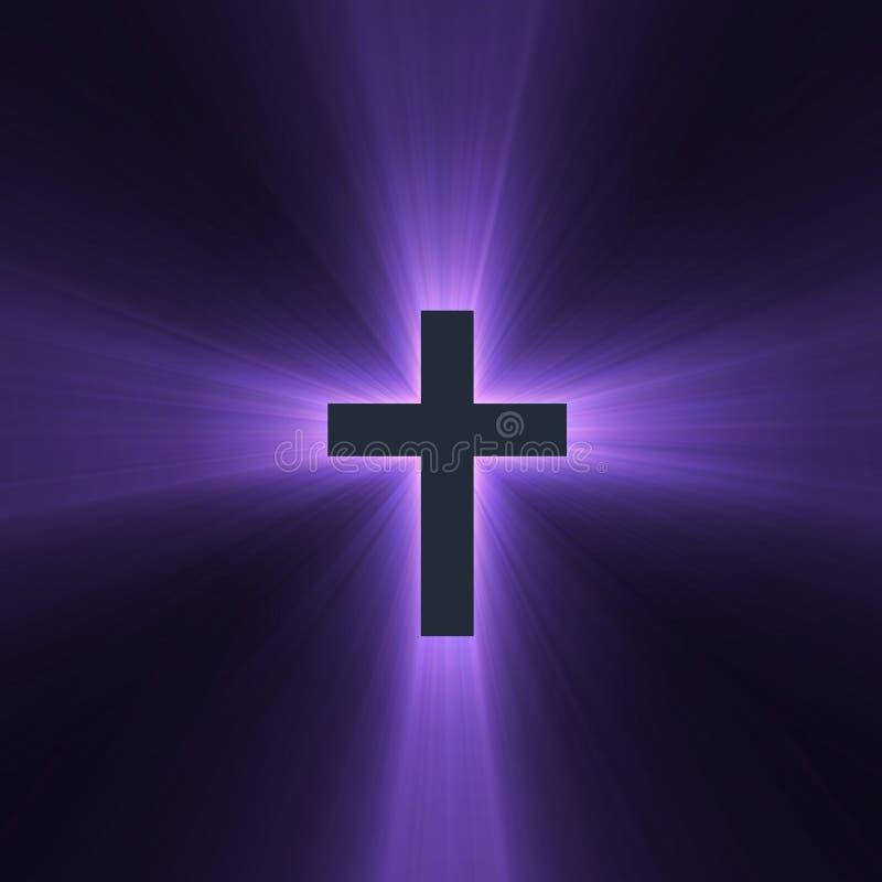 Cruz con las flamas ligeras púrpuras stock de ilustración