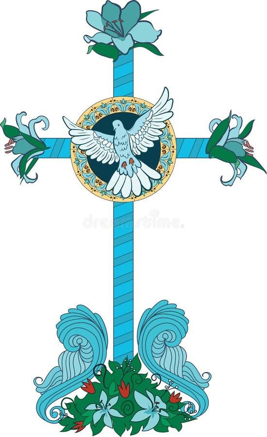 Cruz con las flores y la paloma ilustración del vector
