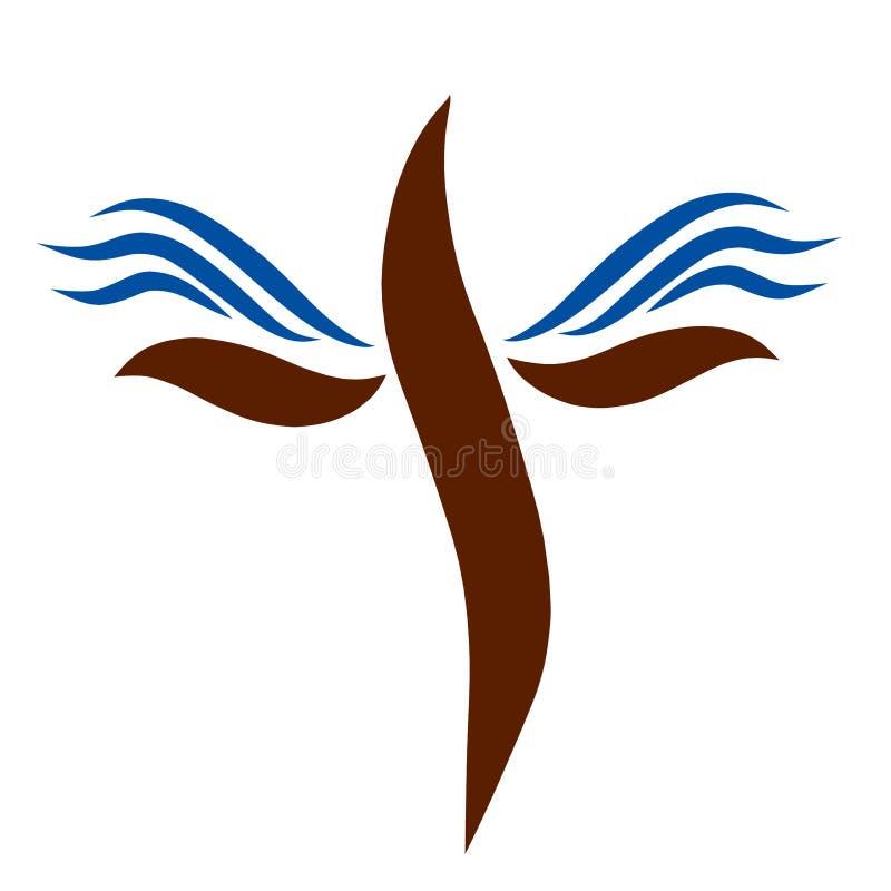 Cruz con las líneas lisas de las alas, azules y marrones stock de ilustración