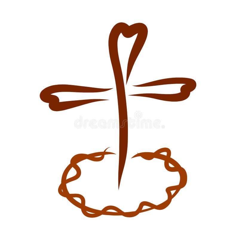 Cruz con los corazones que se colocan sobre la corona de espinas ilustración del vector