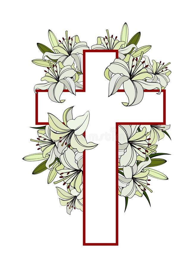 Cruz con los lirios blancos ilustración del vector