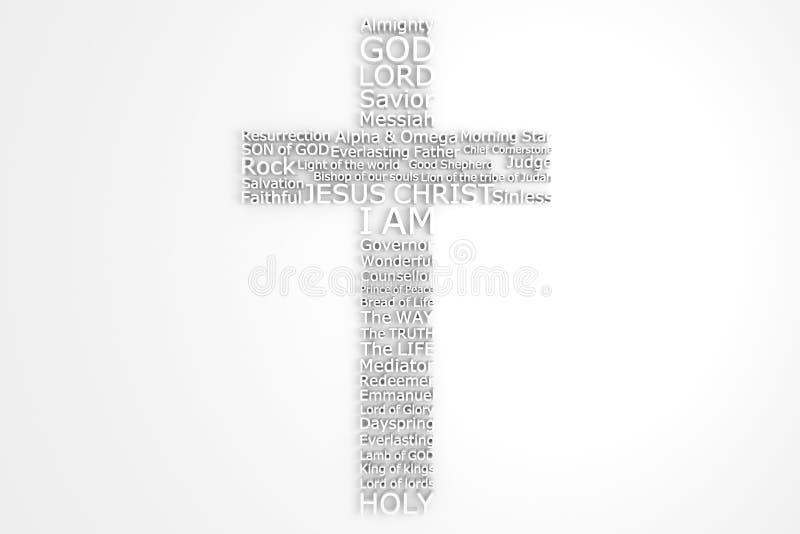 Cruz con nombres bíblicos del JESUCRISTO imagen de archivo