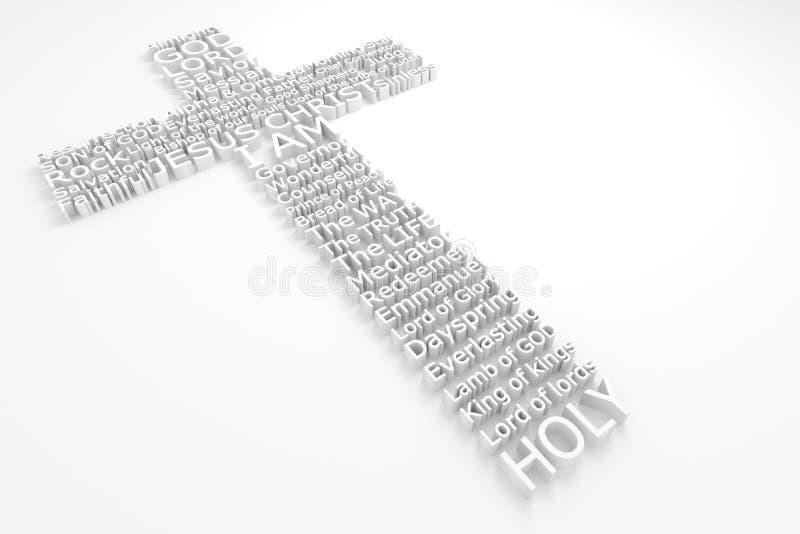 Cruz con nombres bíblicos del JESUCRISTO foto de archivo