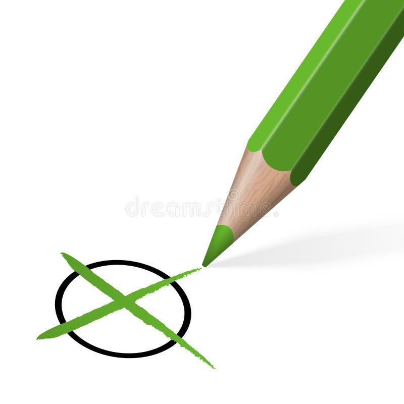 Cruz/control de la elección con el lápiz coloreado libre illustration