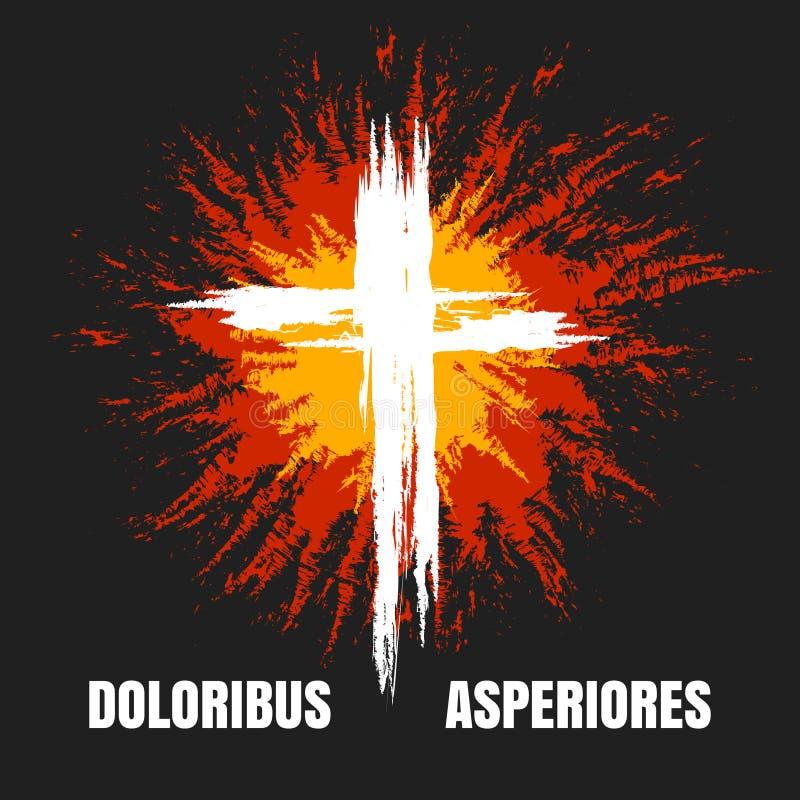 Cruz cristã ardente do Grunge ilustração royalty free