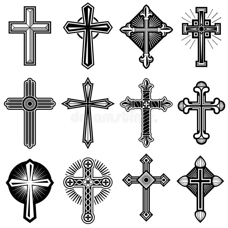 Cruz cristã católica com os ícones do vetor do ornamento ajustados ilustração stock