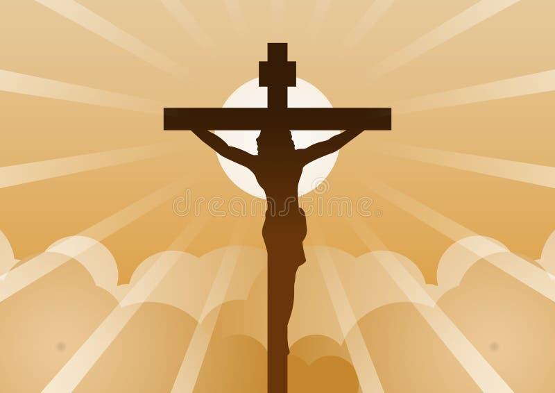 Cruz cristã com Jesus Christ com luz e nuvem para trás para significar começar da esperança, da opinião e da fé ilustração royalty free