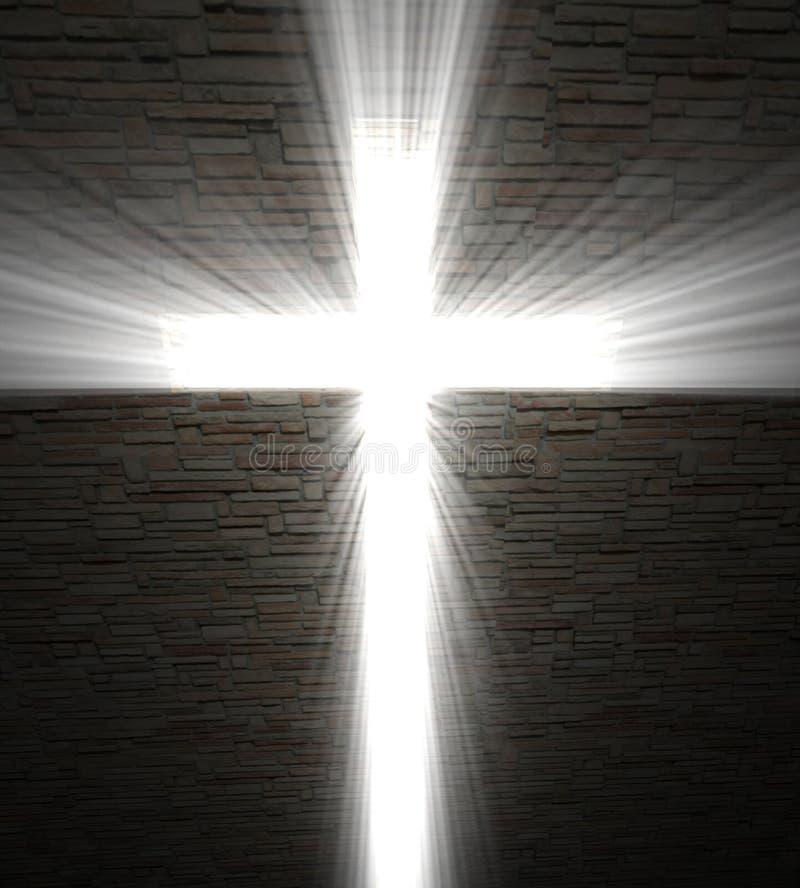 Cruz cristã da luz ilustração do vetor