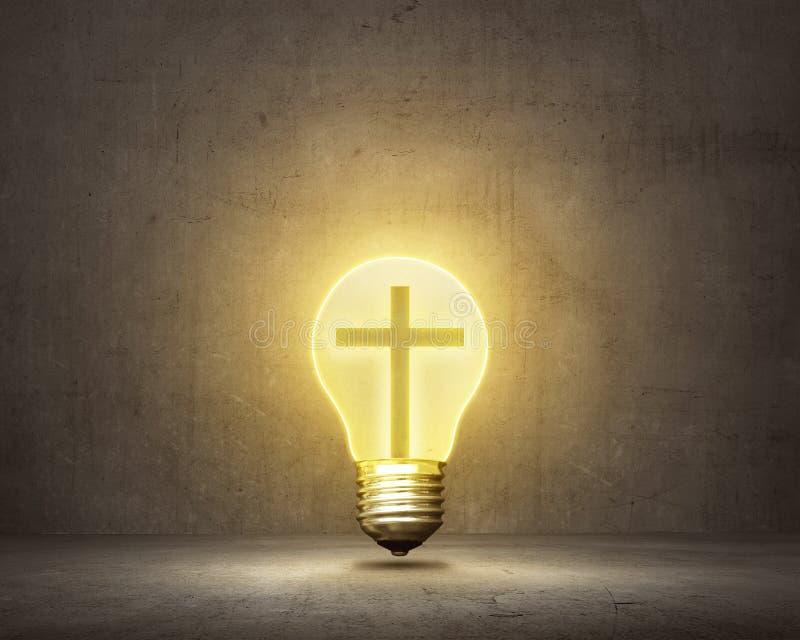 Cruz cristã dentro do bulbo brilhante ilustração stock