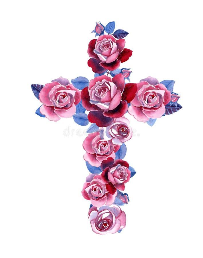 Cruz cristã feita de rosas da aquarela ilustração royalty free