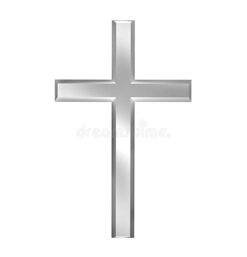 Cruz cristã isolada no fundo branco ilustração stock