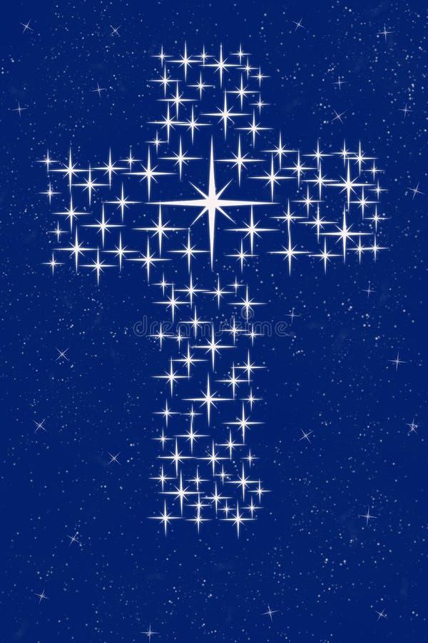 Cruz cristã nas estrelas ilustração do vetor