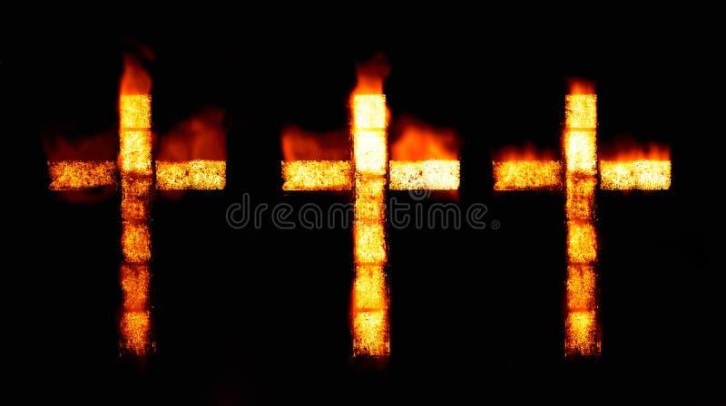 Cruz cristã no incêndio ilustração do vetor