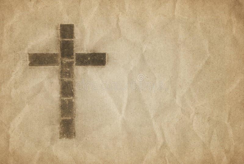Cruz cristã no pergaminho ilustração do vetor