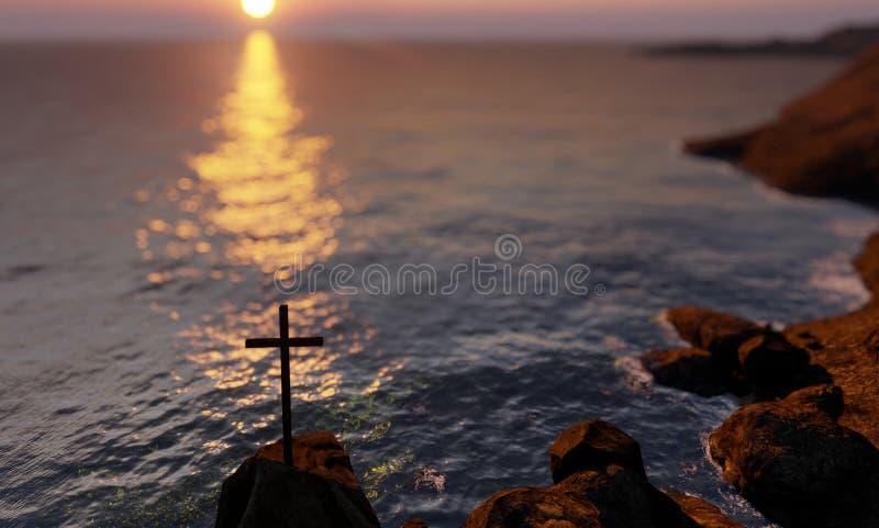 Cruz cristã religiosa em pé sobre o rock no mar ilustração stock