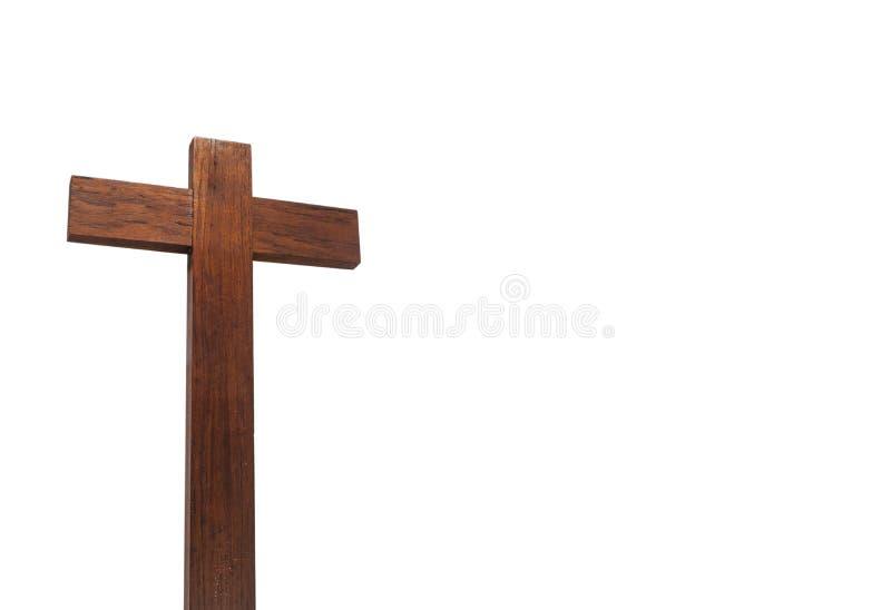 Cruz cristiana aislada en el fondo blanco imágenes de archivo libres de regalías