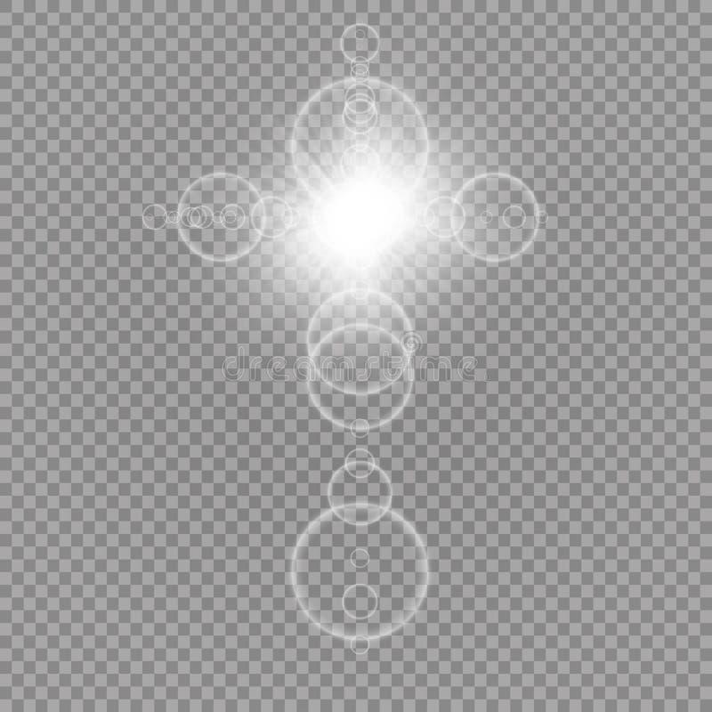 Cruz cristiana blanca que brilla intensamente con la llamarada del sol Ejemplo del vector aislado sobre fondo transparente Pascua foto de archivo libre de regalías